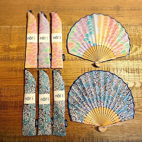 Natti Sensu 小ぶりのサイズにカラフルなデザイン。普段のお洋服と合わせて使っても違和感のない、オシャレな扇子です。