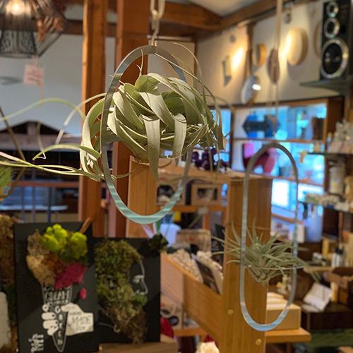スチールと糸で作られたモビールキット。内側の円をゆっくり回していただくと、エアプランツやお好きな雑貨をホールドできるようになっています。